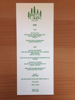 Forest Green Wedding Menu