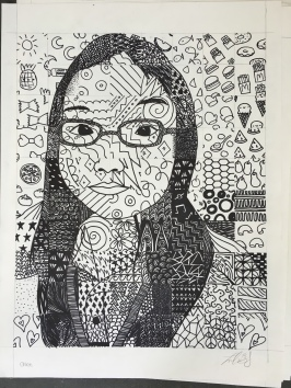Chloe's Patterned Grid Self-Portrait