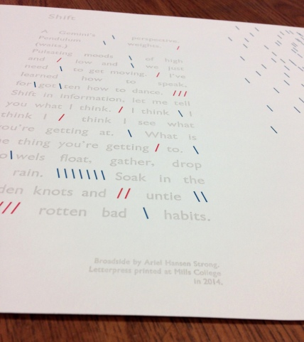 "Letterpress Broadside - ""Shift"""